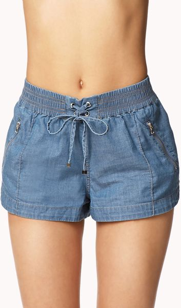 Forever 21 Chambray Dolphin Shorts in Blue (denim) | Lyst