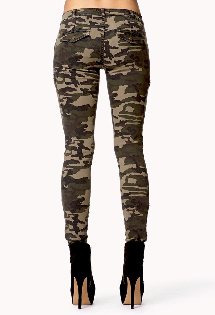 Elegant Zippered Camo Skinny Jeans | FOREVER21 - 2078839672