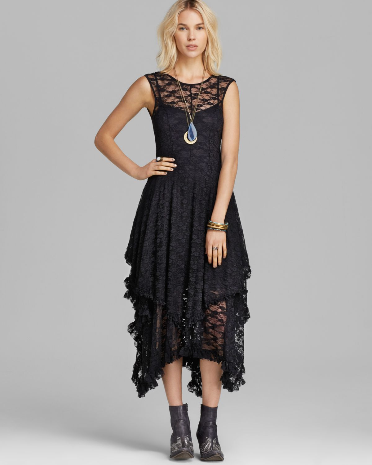Lyst Free People Slip Dress Stretch Lace French Court