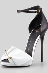 Giuseppe Zanotti Safety Pin Leather Sandal Blackwhite - Lyst