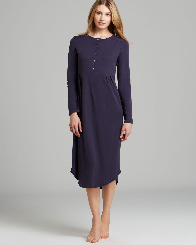 3b3f274813 Lyst - Hanro Rose Long Sleeve Nightgown in Blue