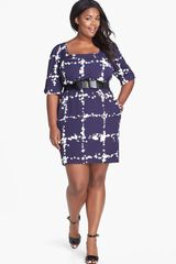 Jessica Simpson Bow Belt Print Sheath Dress - Lyst
