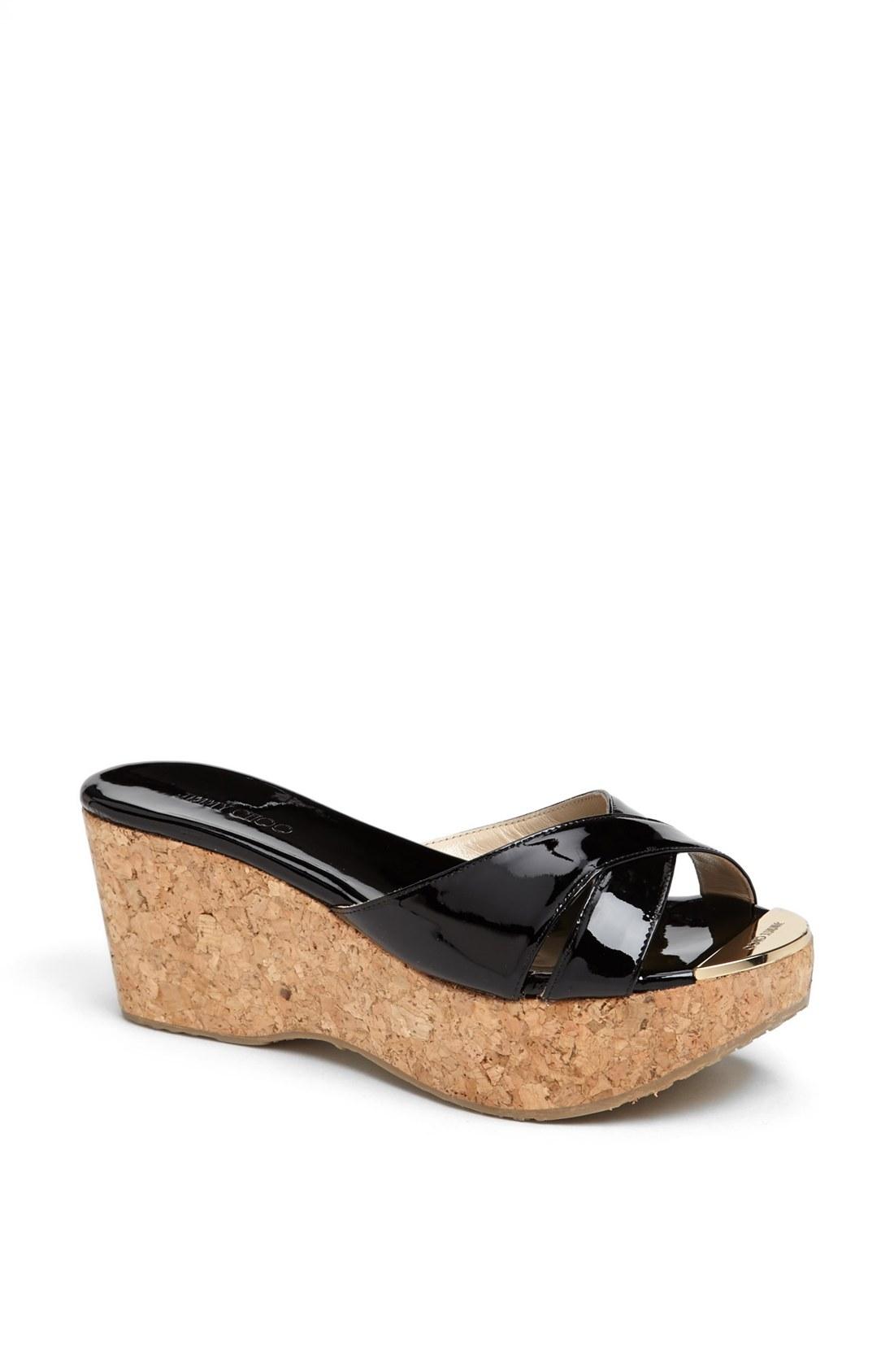 Jimmy Choo Prima Cork Platform Sandal In Black Lyst