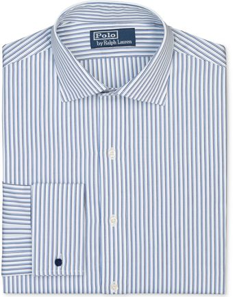 Ralph Lauren White and Blue Stripe Poplin Longsleeved Shirt with French Cuff - Lyst