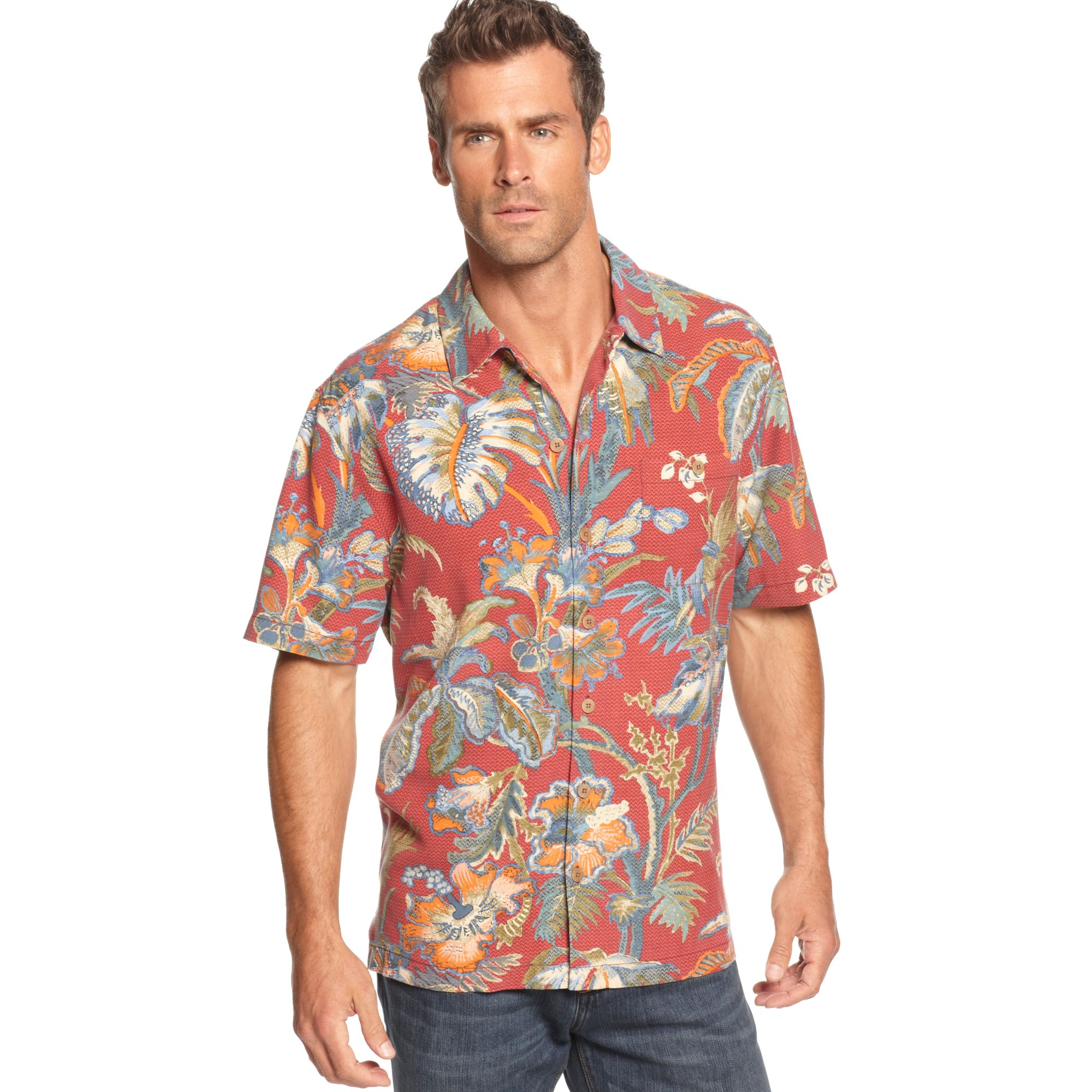 Tommy bahama short sleeve laurel floral shirt for men lyst for Tommy bahama florida shirt