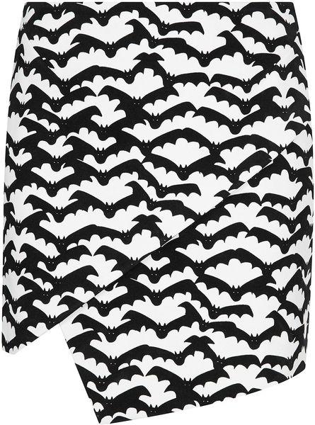 Topshop Bat Print Mini Skirt in White