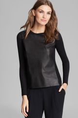 Vince Sweater Luxe Merino Wool and Leather - Lyst