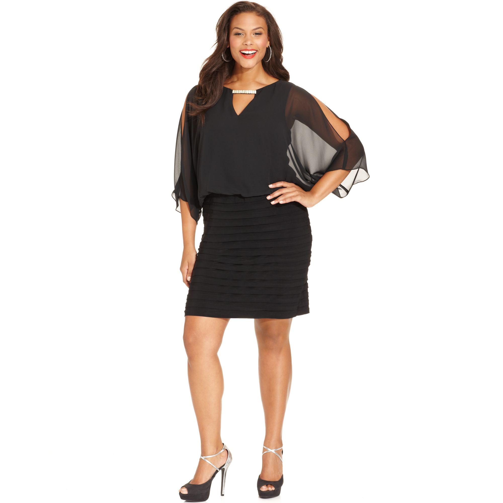 Xscape Plus Size Split Sleeve Blouson Shutter Pleat Dress
