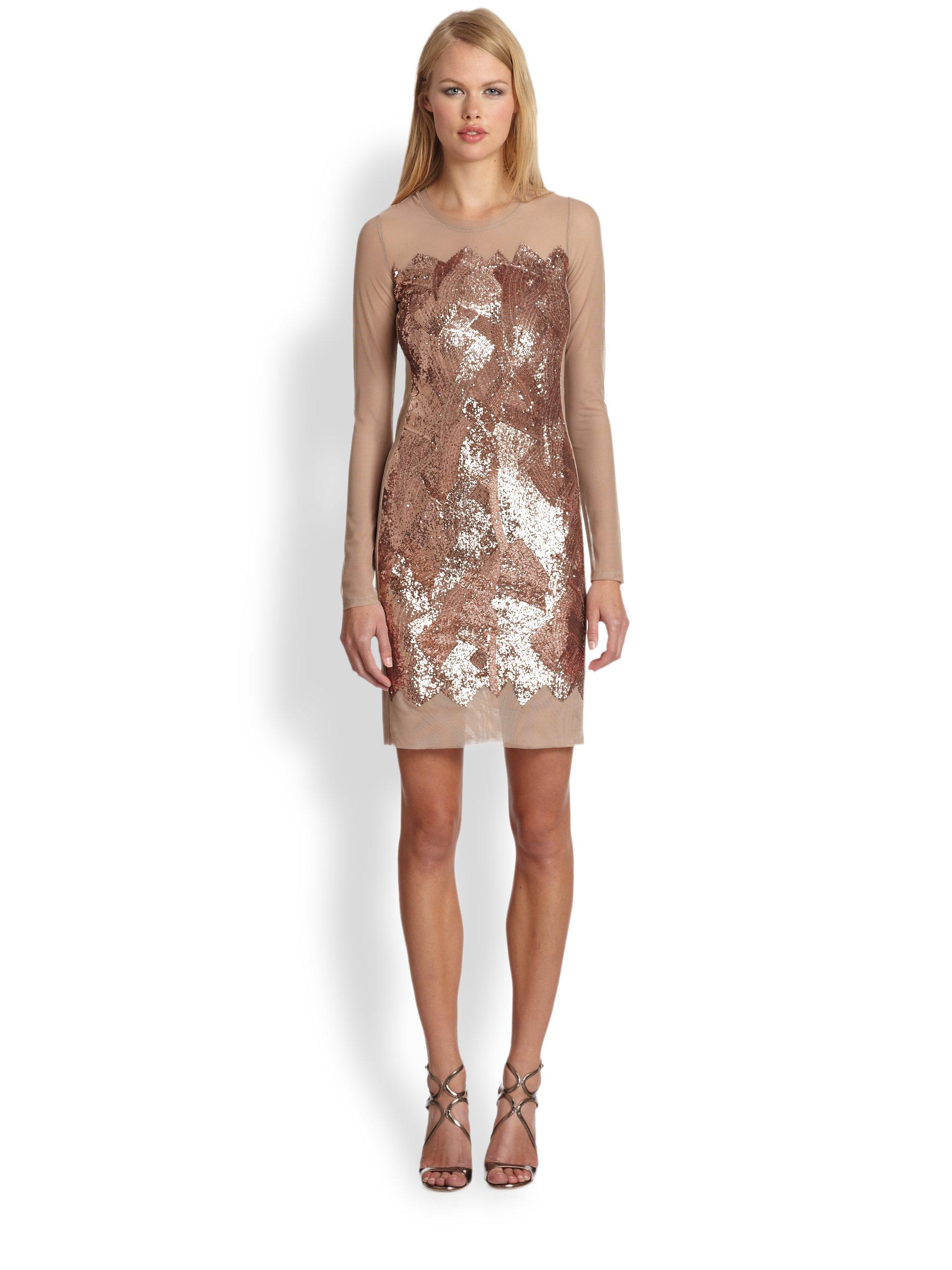 Bcbgmaxazria Anaya Beaded Sequin Dress in Natural | Lyst