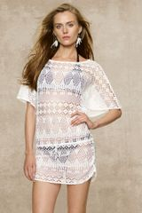 Blue Label Crocheted Flutter Poncho - Lyst