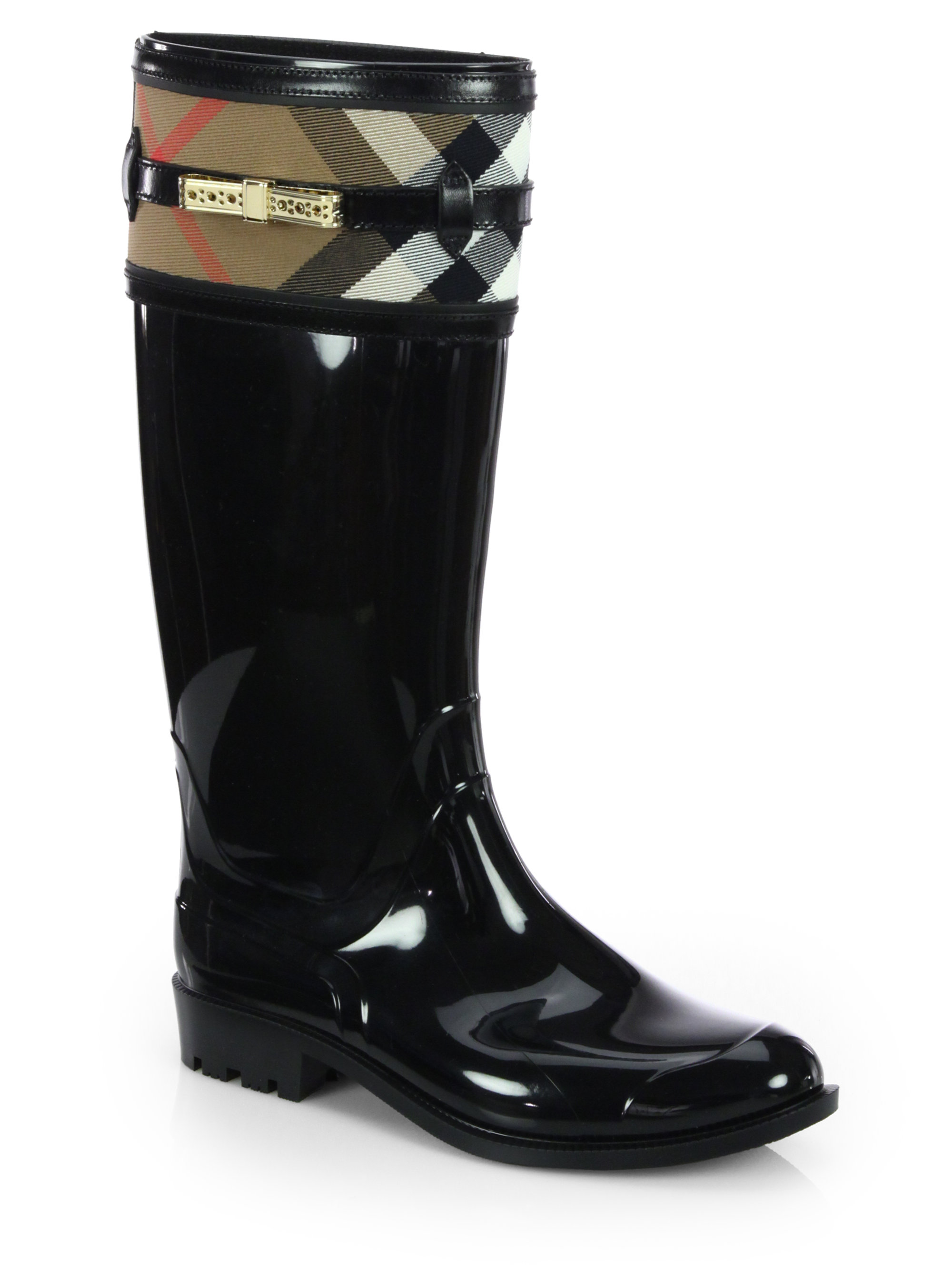 Burberry Aberfield Check Rain Boots in Black