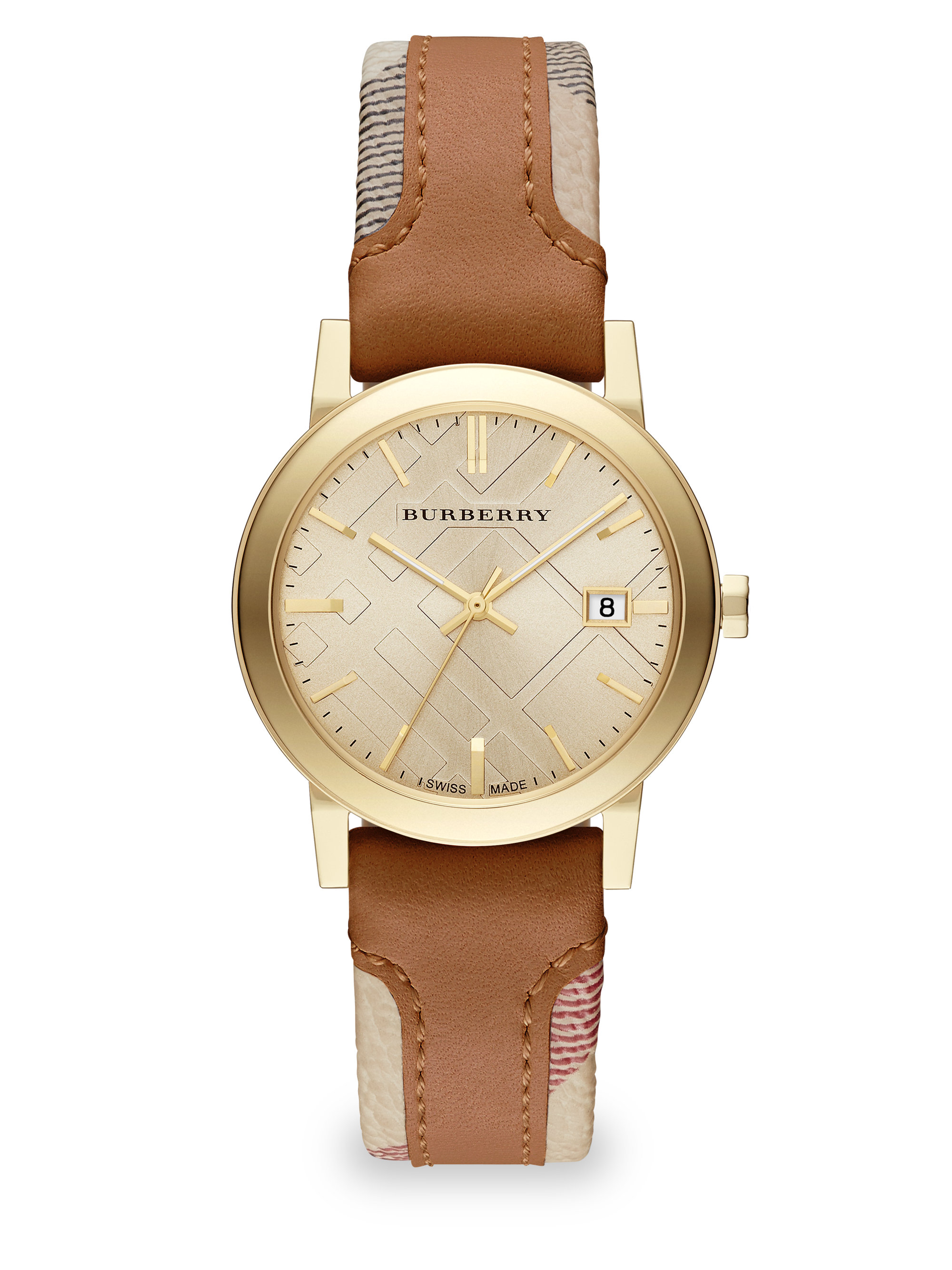 Lyst burberry city goldtone stainless steel haymarket leather strap watch in brown for Burberry watches