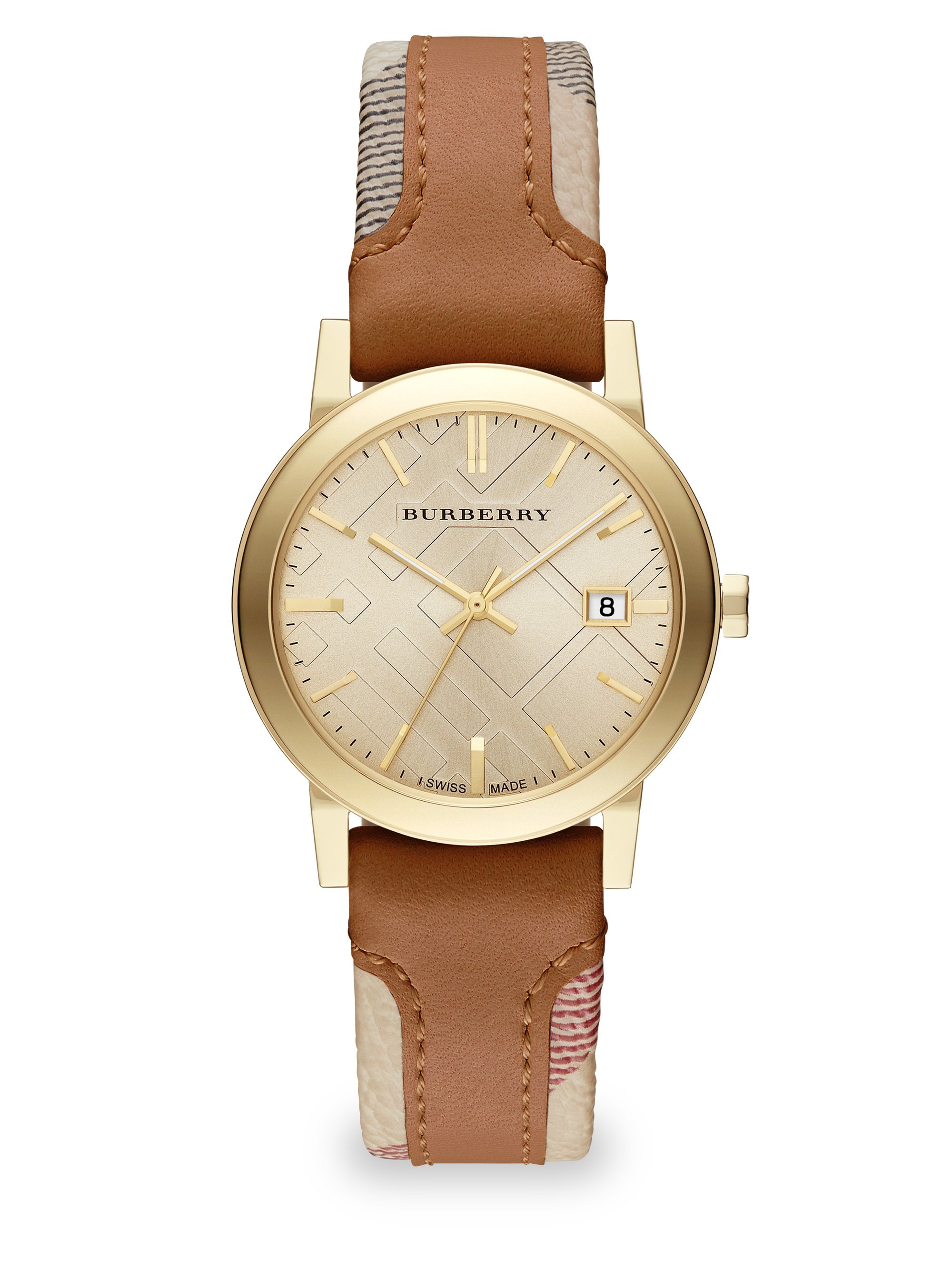 lyst burberry city goldtone stainless steel haymarket leather strap watch in brown
