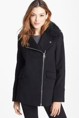 Calvin Klein Faux Fur Collar Wool Blend Moto Coat - Lyst