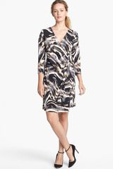Calvin Klein Print Faux Wrap Dress - Lyst