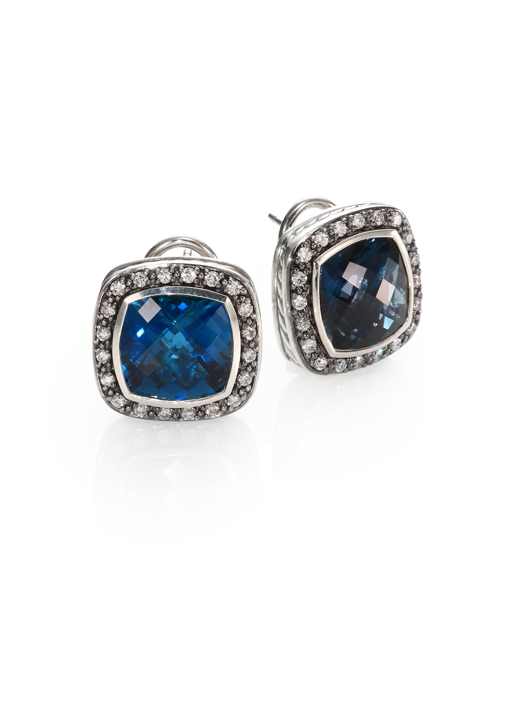 david yurman blue topaz diamond sterling silver button. Black Bedroom Furniture Sets. Home Design Ideas