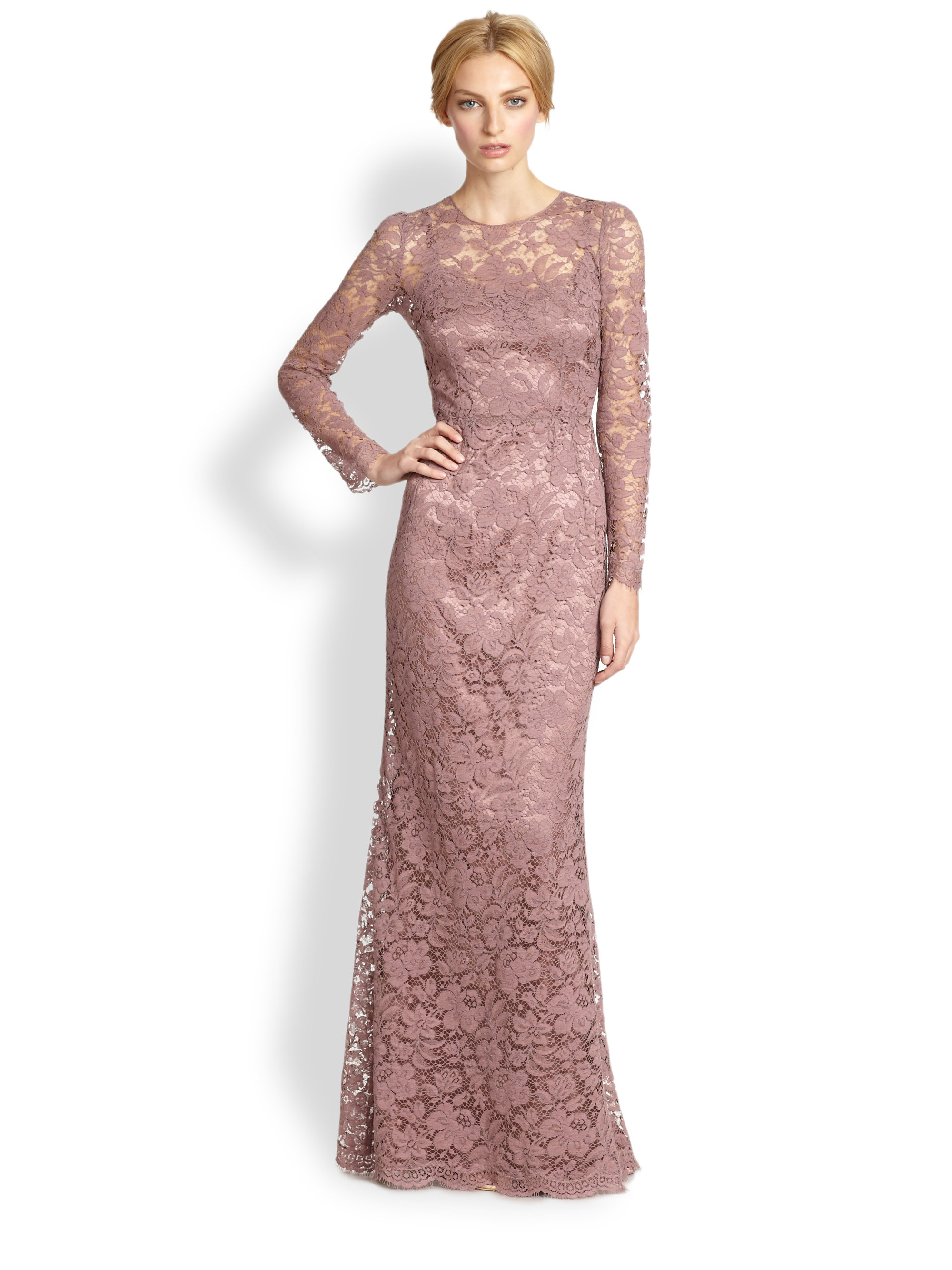 Dolce Amp Gabbana Long Sleeve Lace Gown Rose In Pink Lyst