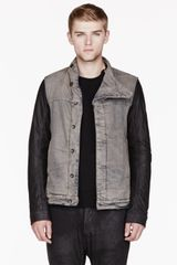 DRKSHDW by Rick Owens Grey Leather Sleeved Slave Jacket - Lyst