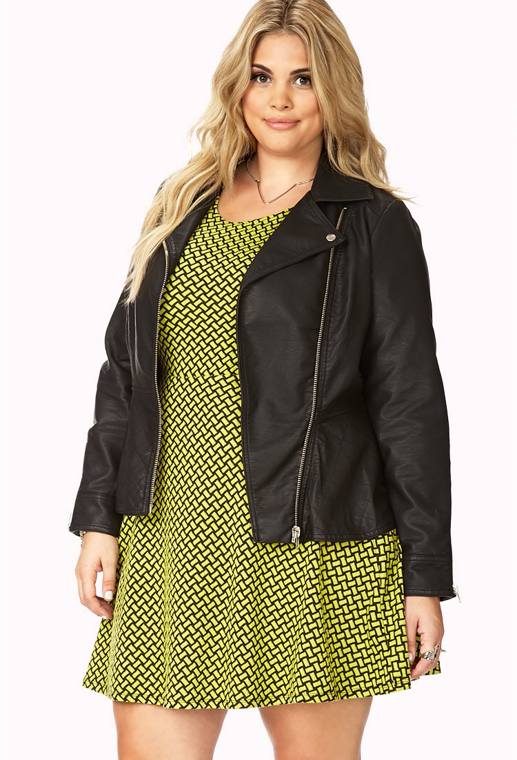 Lyst Forever 21 Plus Size Quilted Peplum Faux Leather