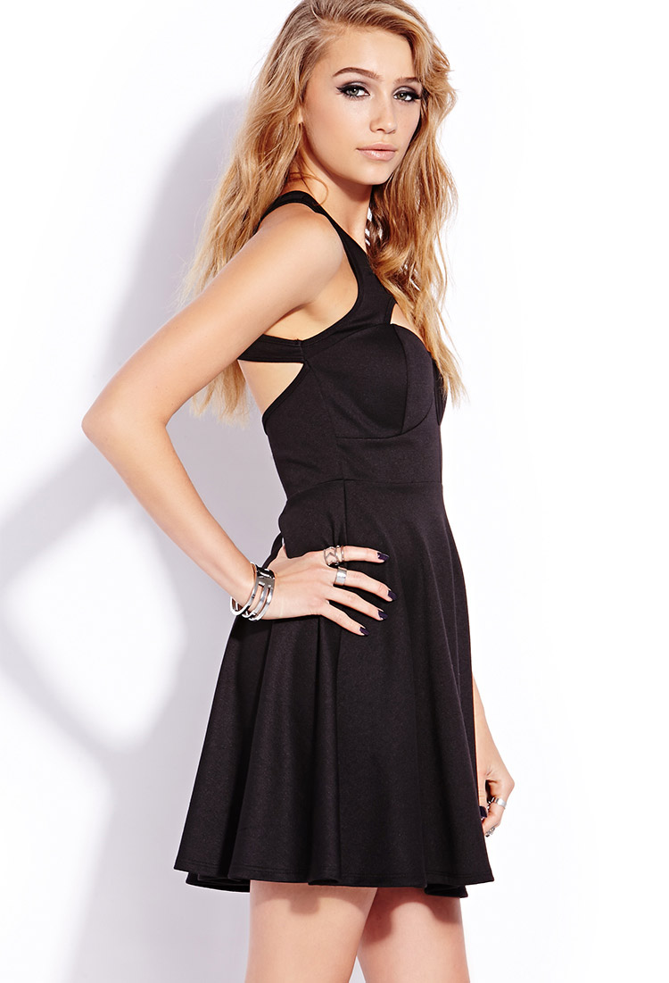 Lyst Forever 21 Sophisticated Cutout Dress In Black