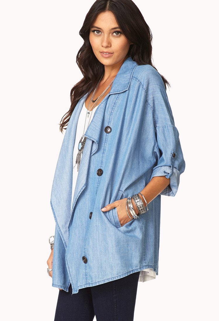 Forever 21 Blue Jeans Babe Chambray Jacket In Blue Lyst