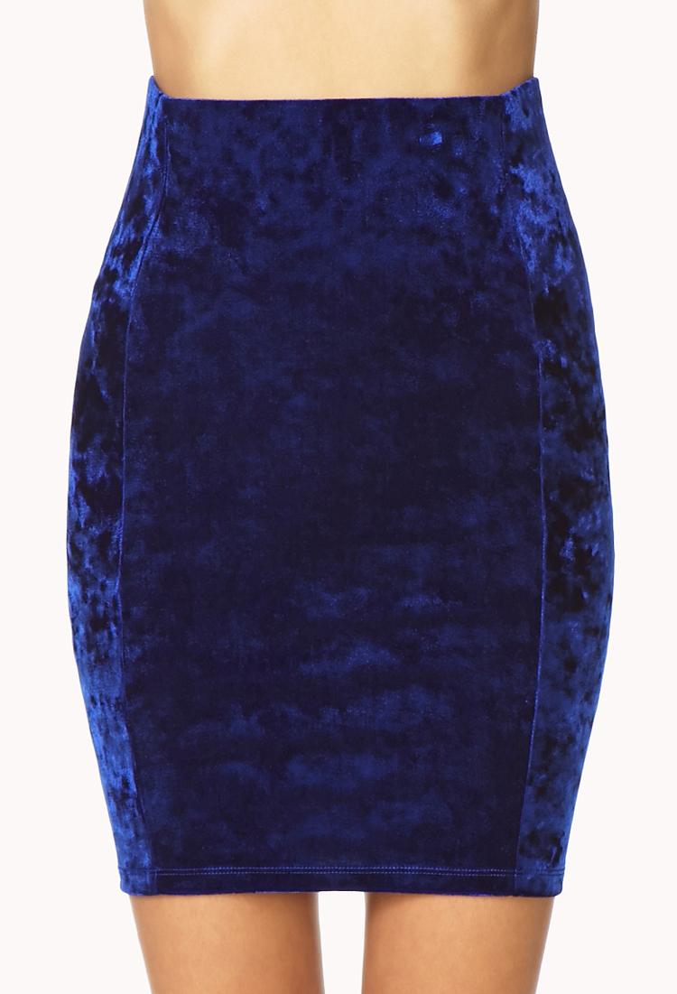 forever 21 velveteen bodycon skirt in blue royal lyst