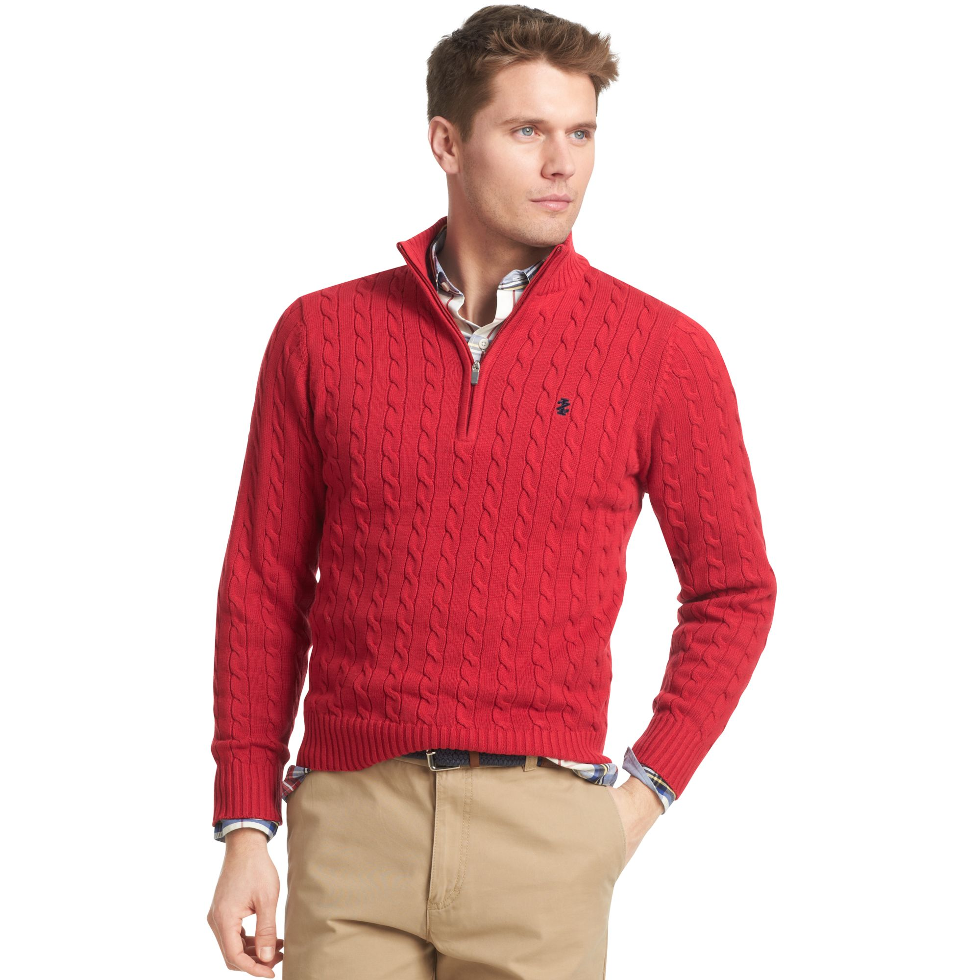 Izod Sweater Quarterzip Mock Neck Cable Knit Pullover in Red for ...