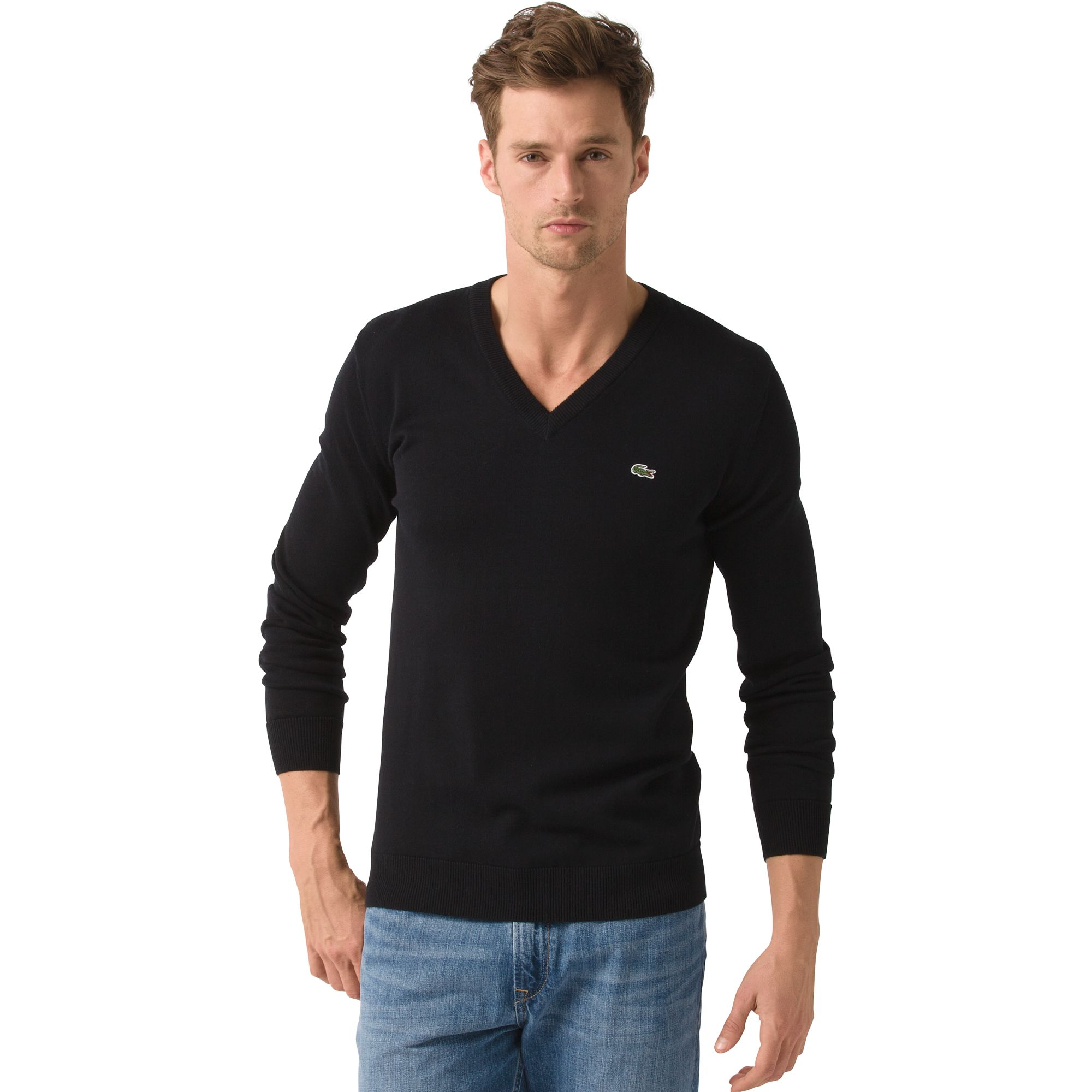 Lacoste Jersey Cotton Classic Vneck Sweater in Black for Men | Lyst
