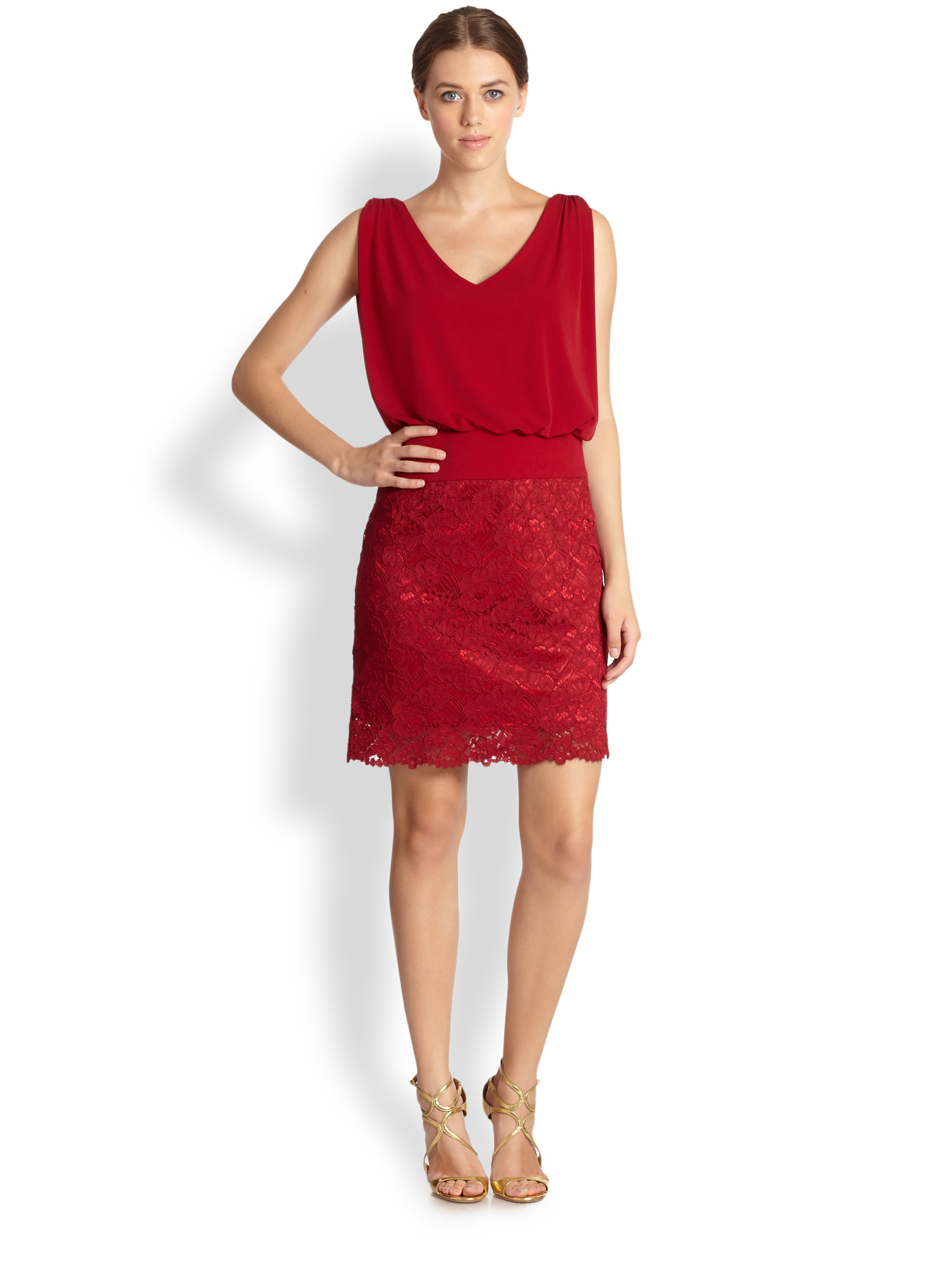 laundry by shelli segal laundry by shelli segal lace jersey blouson dress in 12096