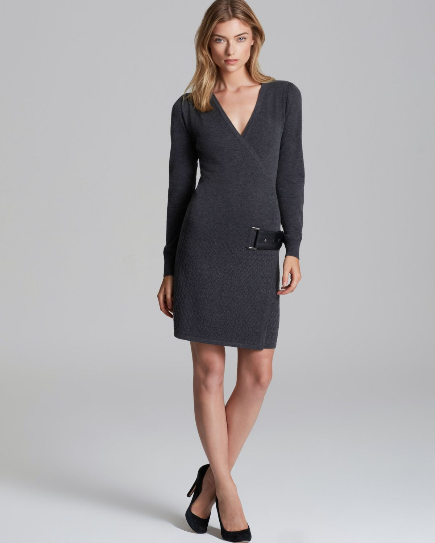 Laundry By Shelli Segal Faux Wrap Sweater Dress in Gray ...
