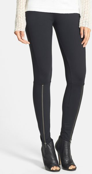 Leith Zip Cuff Leggings in Black - Lyst