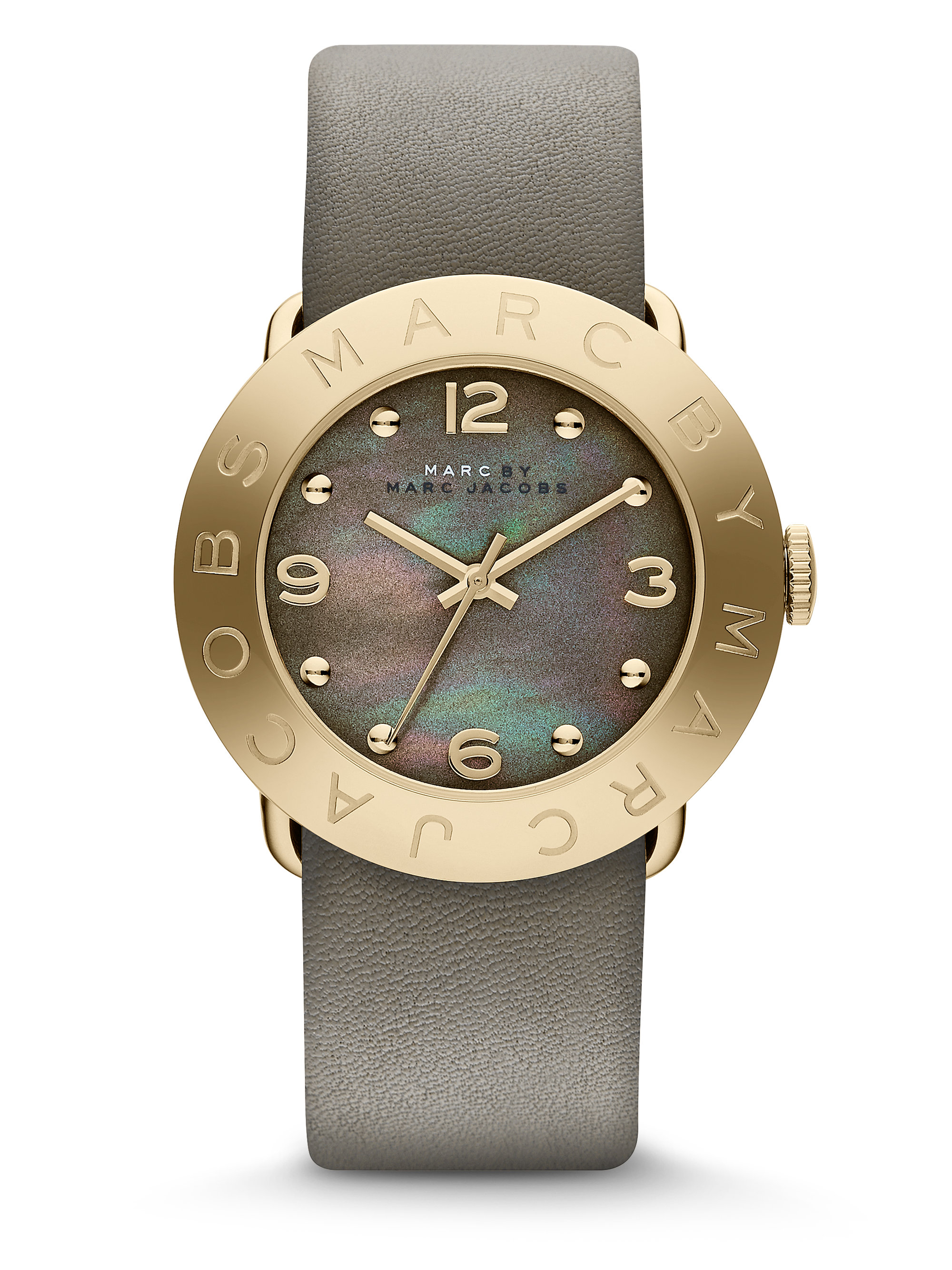 dial amy product gold gallery stainless by jacobs lyst steel golden accessories watch watches grey leather marc logo goldtone