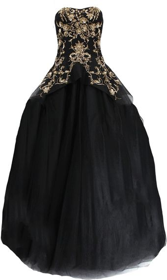 Marchesa Gold Embroidered Tulle Gown - Lyst