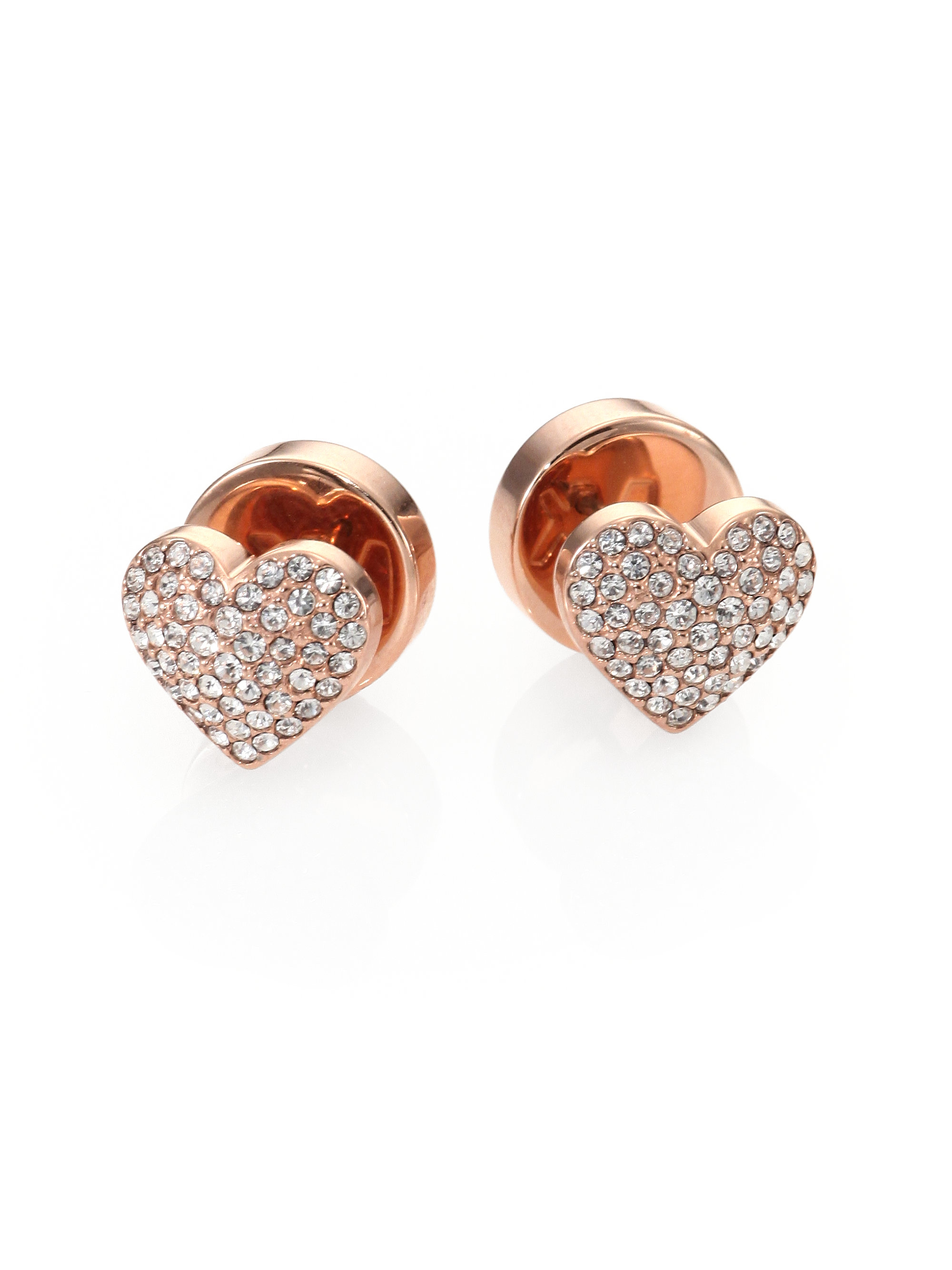 dba443d80bce Lyst - Michael Kors Pav Eacute  Heart Stud Earrings in Metallic