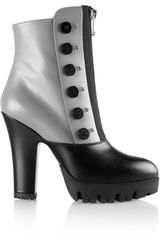 Miu Miu Buttonembellished Leather Platform Ankle Boots - Lyst