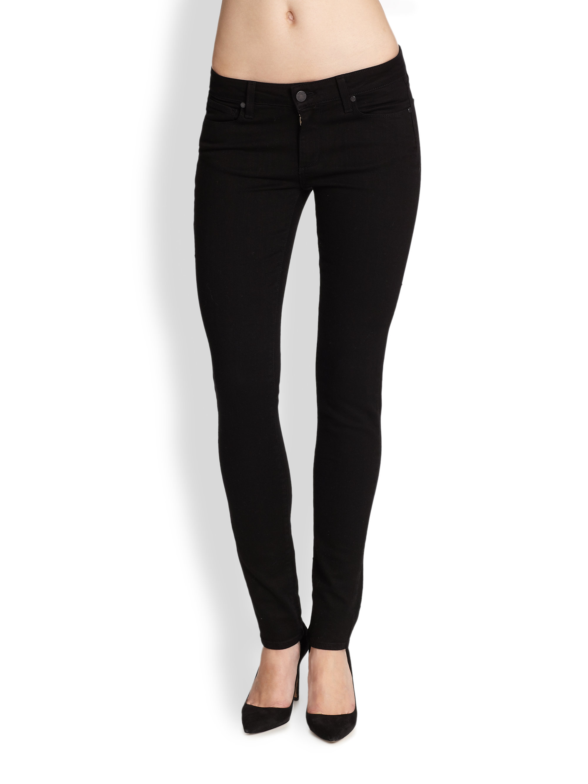 Paige Skyline Skinny Jeans in Black | Lyst