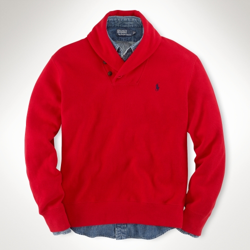 Polo ralph lauren Cotton Shawlcollar Sweater in Red for Men | Lyst