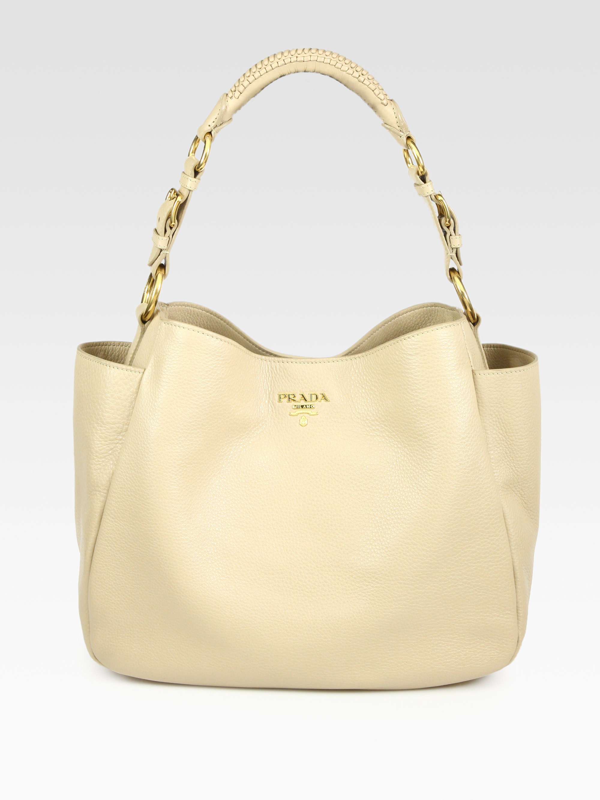 8e1b26b9d62b5 Lyst - Prada Vitello Daino Hobo Bag in Natural