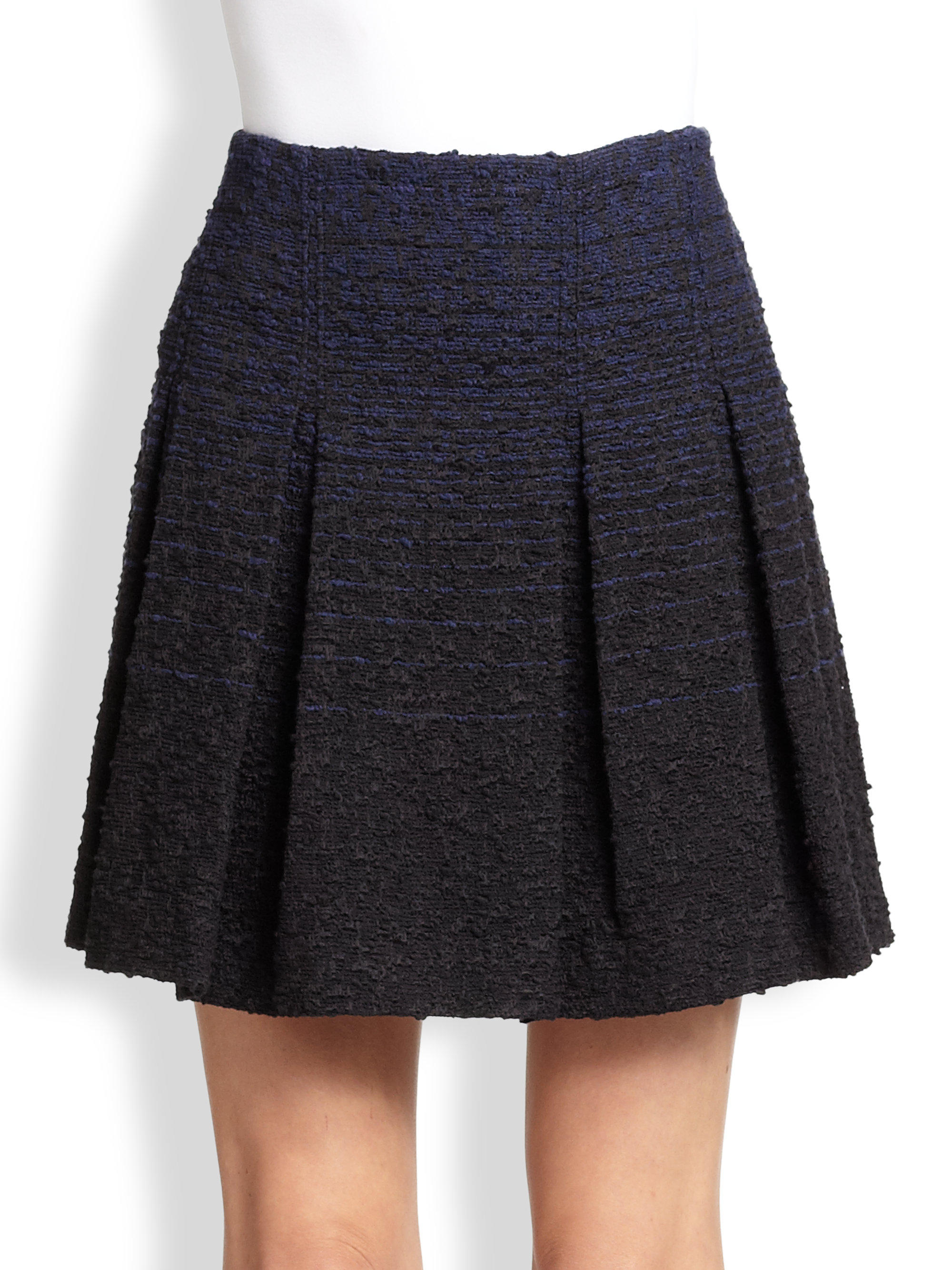 proenza schouler ombre tweed pleated skirt in black blue