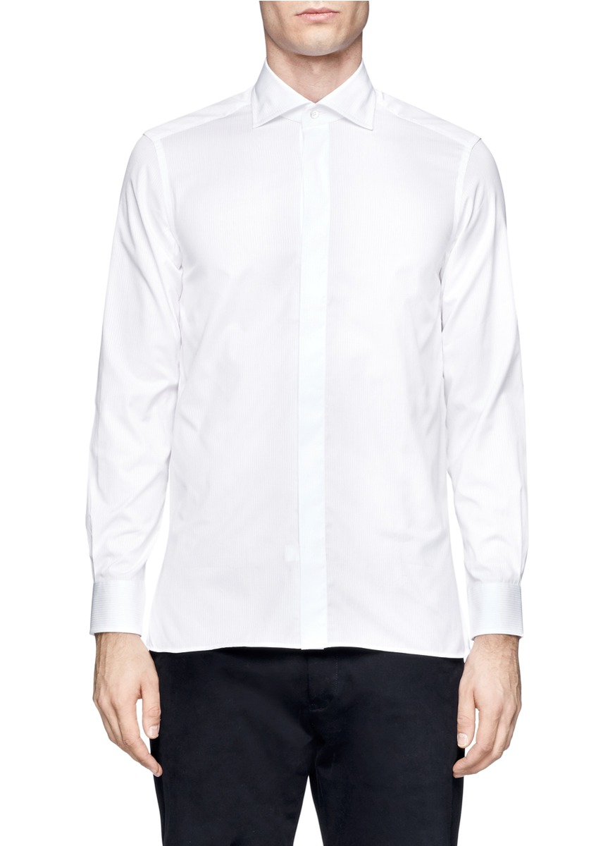 Lyst rake spread collar striped cotton shirt in white for Men s spread collar shirts