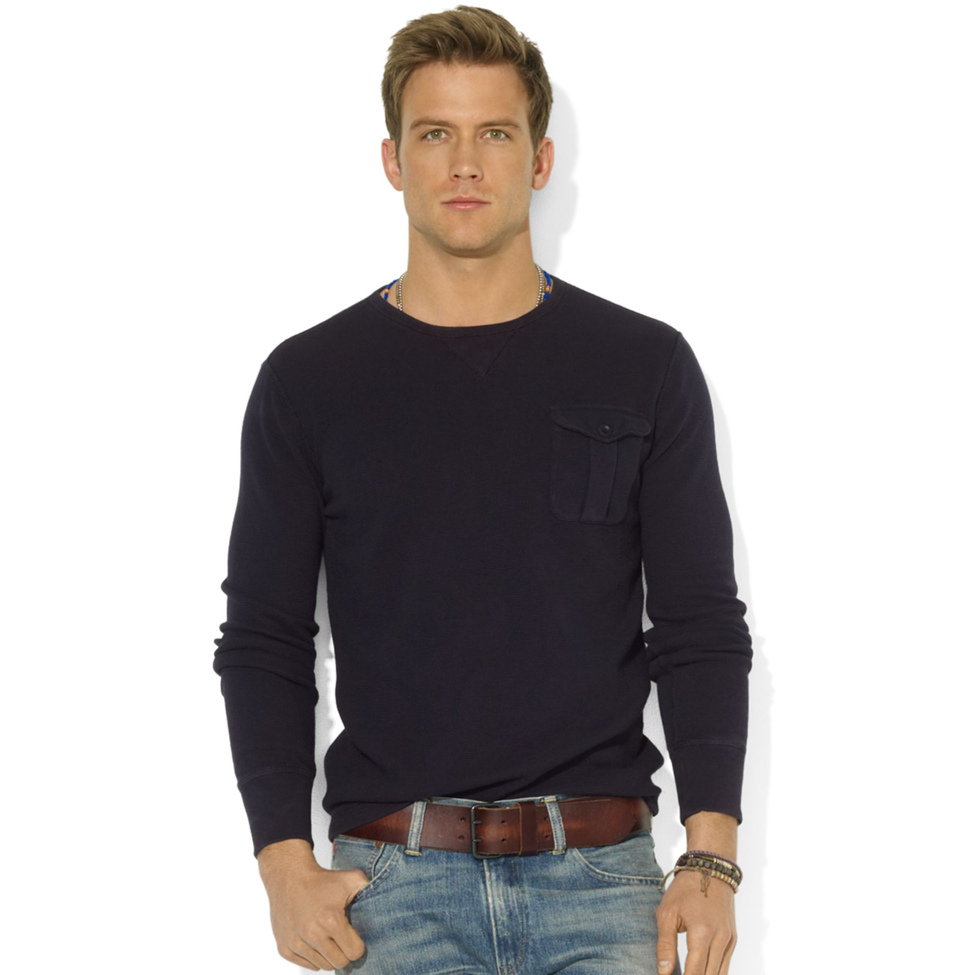 Ralph lauren Crew Neck Long-sleeve Waffle-knit Pocket T-shirt in ...