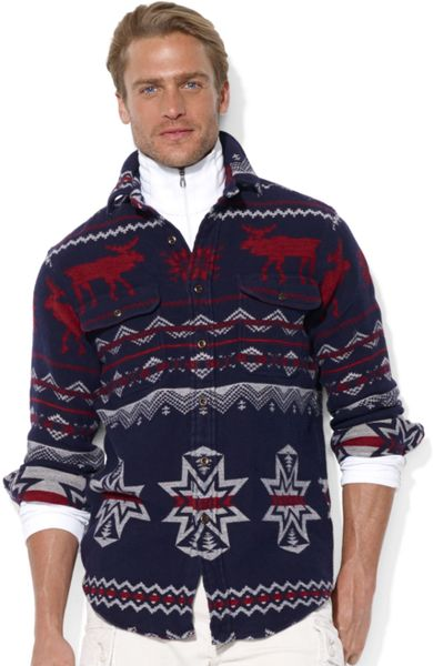 Ralph Lauren Longsleeve Jacquard Moose Workshirt in Blue for Men (Blue/White)