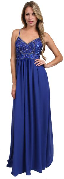Sue Wong Beaded Bodice Long Dress - Lyst