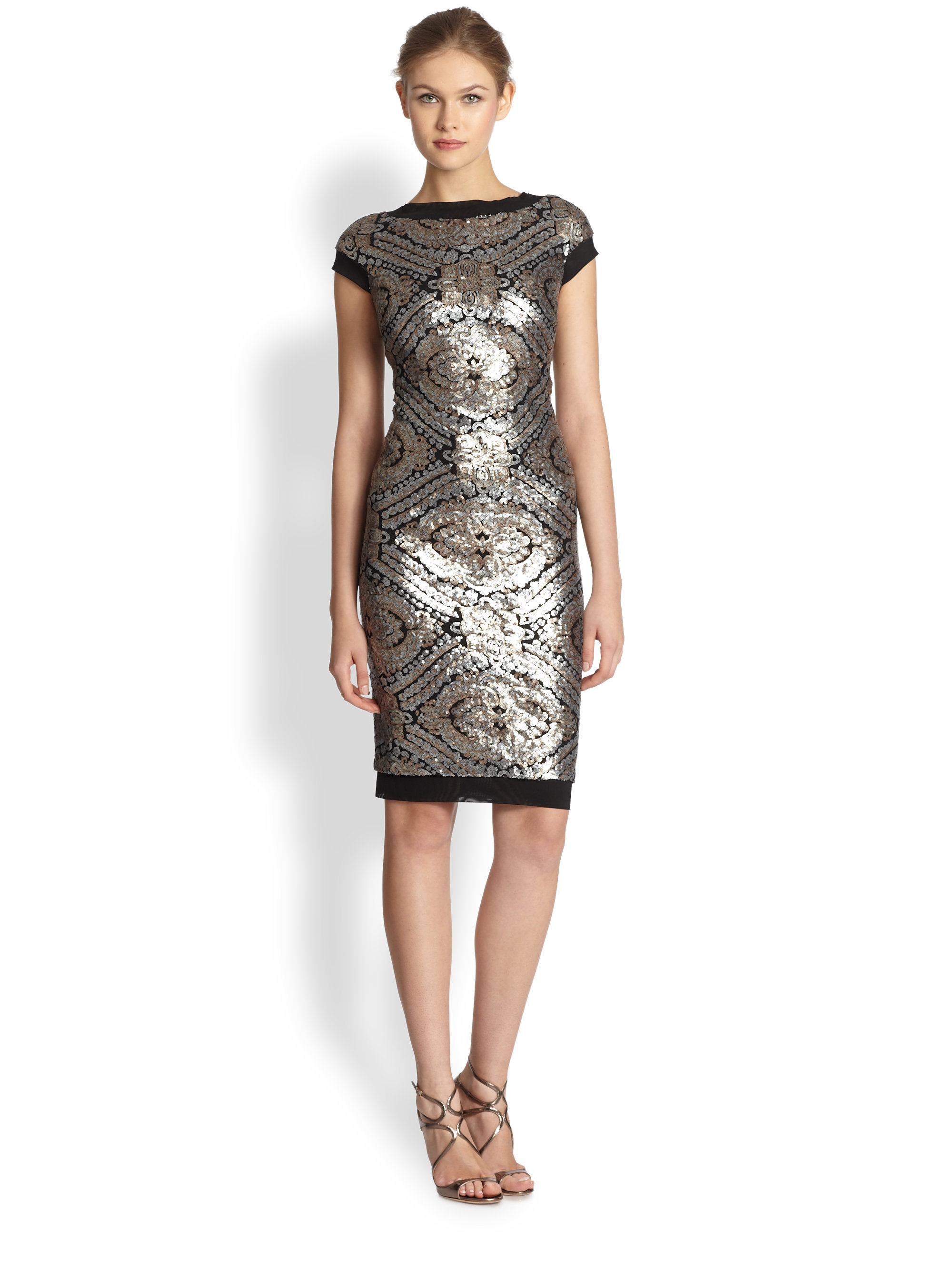 Tadashi Shoji Sequined Cap Sleeve Cocktail Dress In