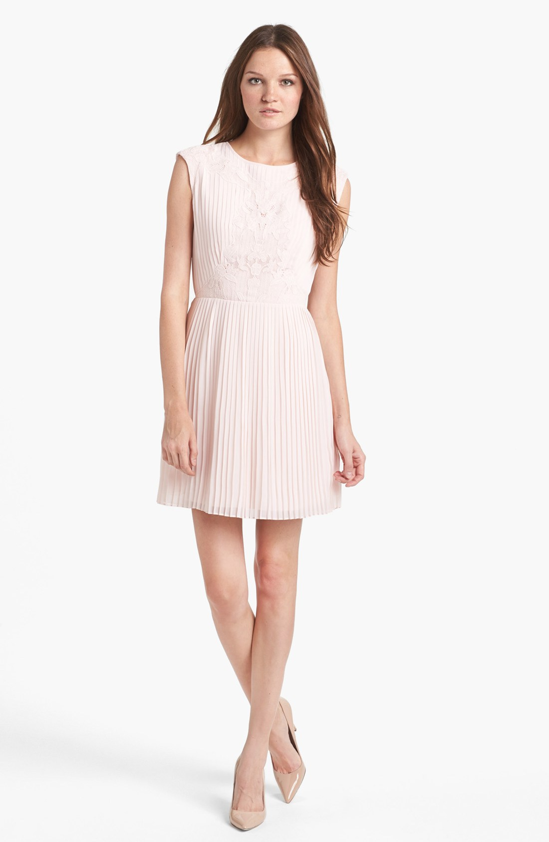 Ted Baker Pleated Lace A Line Dress In Pink Light Pink