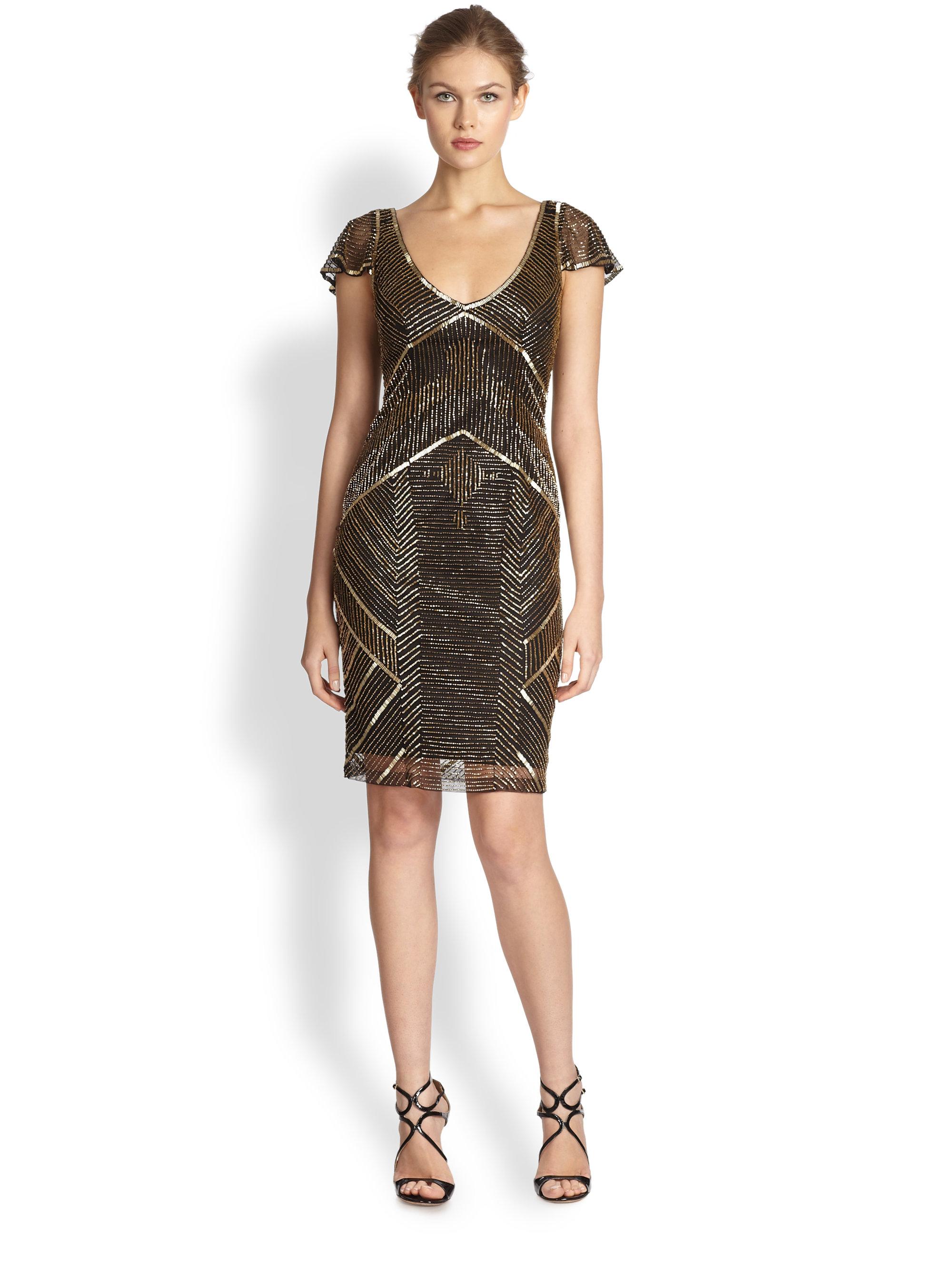 Theia Metallic Beaded Cocktail Dress in Metallic  Lyst