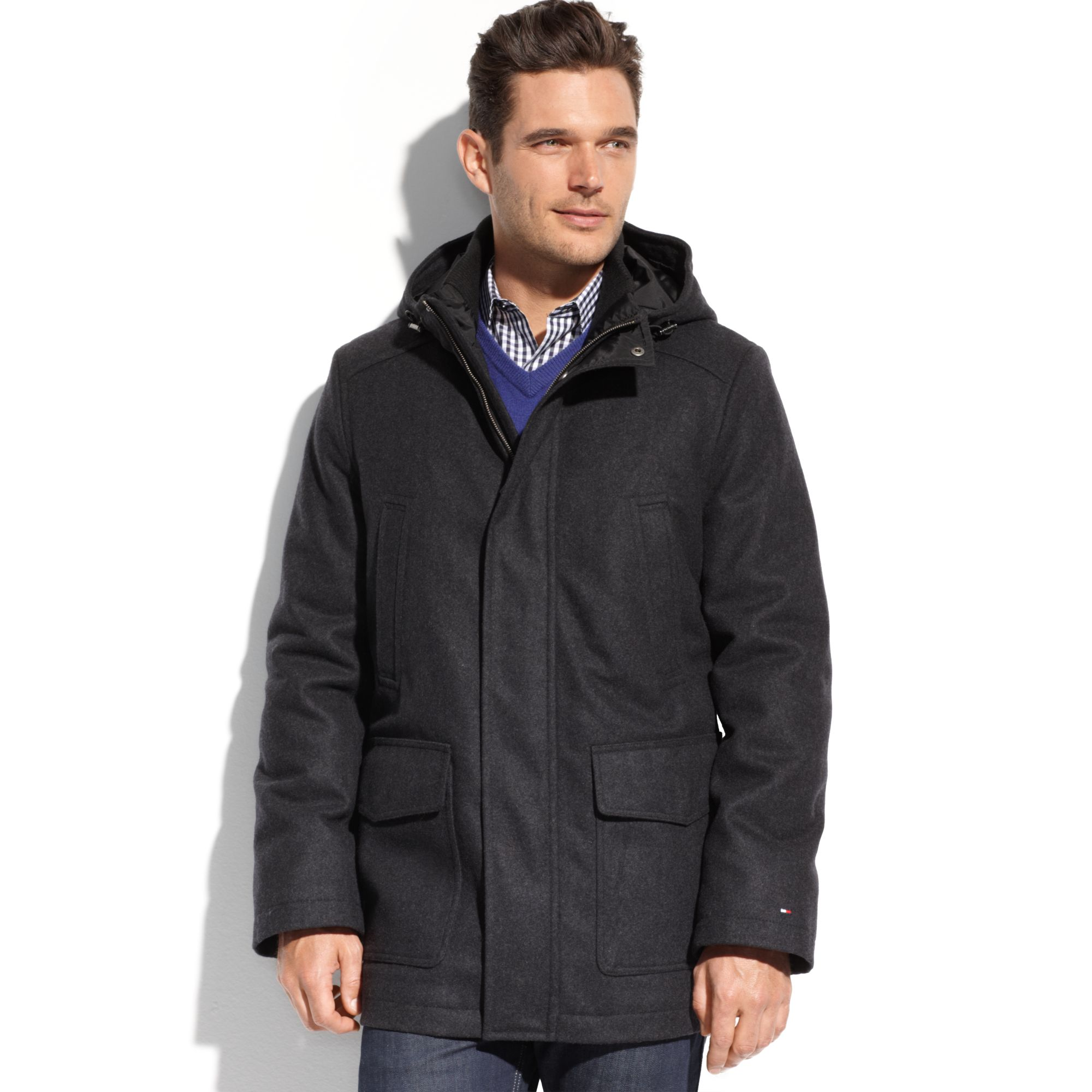 13543d0f Tommy Hilfiger Melton Wool Hooded Stadium Coat in Black for Men - Lyst