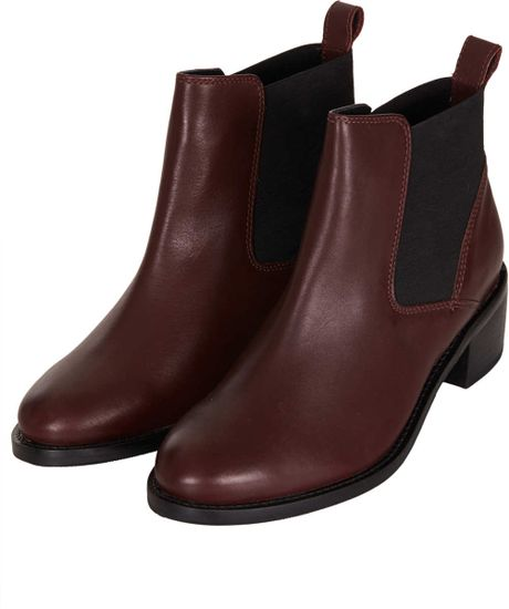topshop affanita mid heel chelsea boots in brown bordeaux. Black Bedroom Furniture Sets. Home Design Ideas