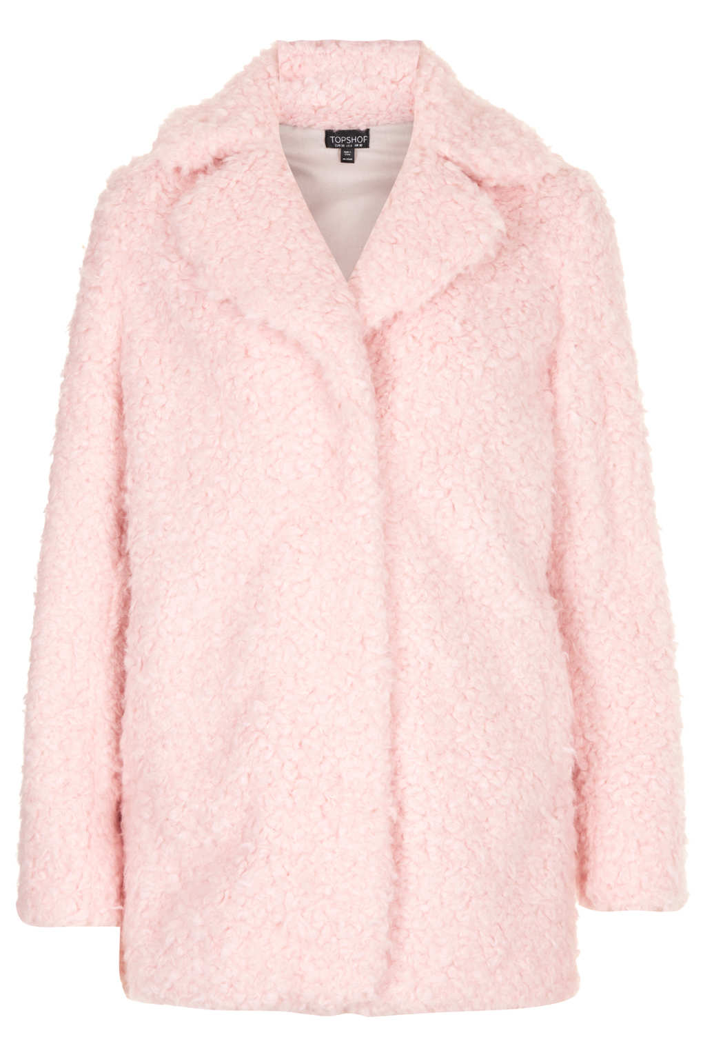 Topshop Teddy Fur Pea Coat in Pink | Lyst