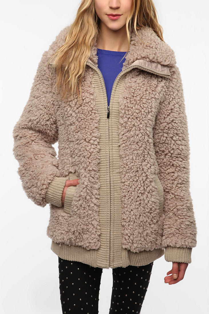 Lyst Urban Outfitters Teddy Bomber Jacket In Natural